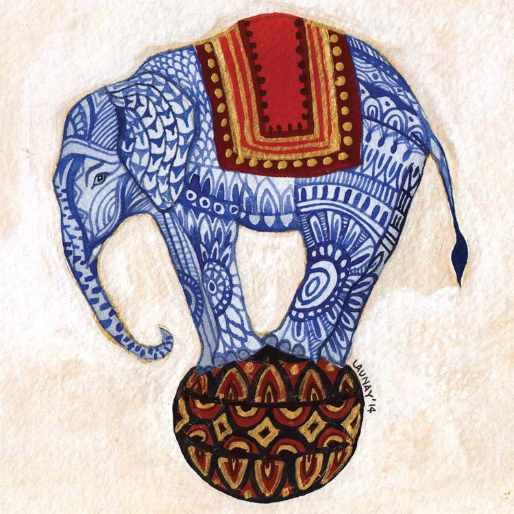 The Golden Ball by Melissa Launay, Fine Art Greeting Card, Gouache on Paper, A blue patterned elephant balancing on a ball