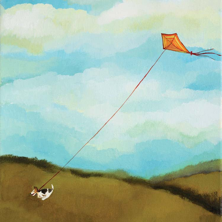 The Opportunist by Melissa Launay, Fine art greeting card, Oil on canvas, Dog running with kite