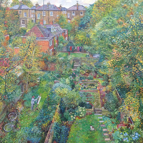 Art greeting card by Melissa Scott-Miller, oilpainting, View of backgardens with artist painting