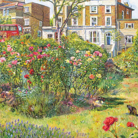 Art greeting card by Melissa Scott-Miller, oilpainting, rosebush in Islington