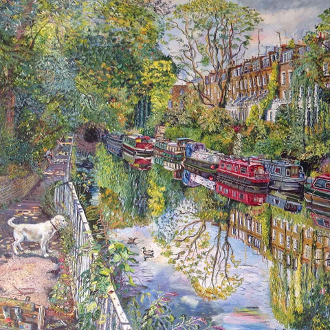 Art Greeting Card by Melissa Scott-Miller, oilpainting, dog by Regents canal