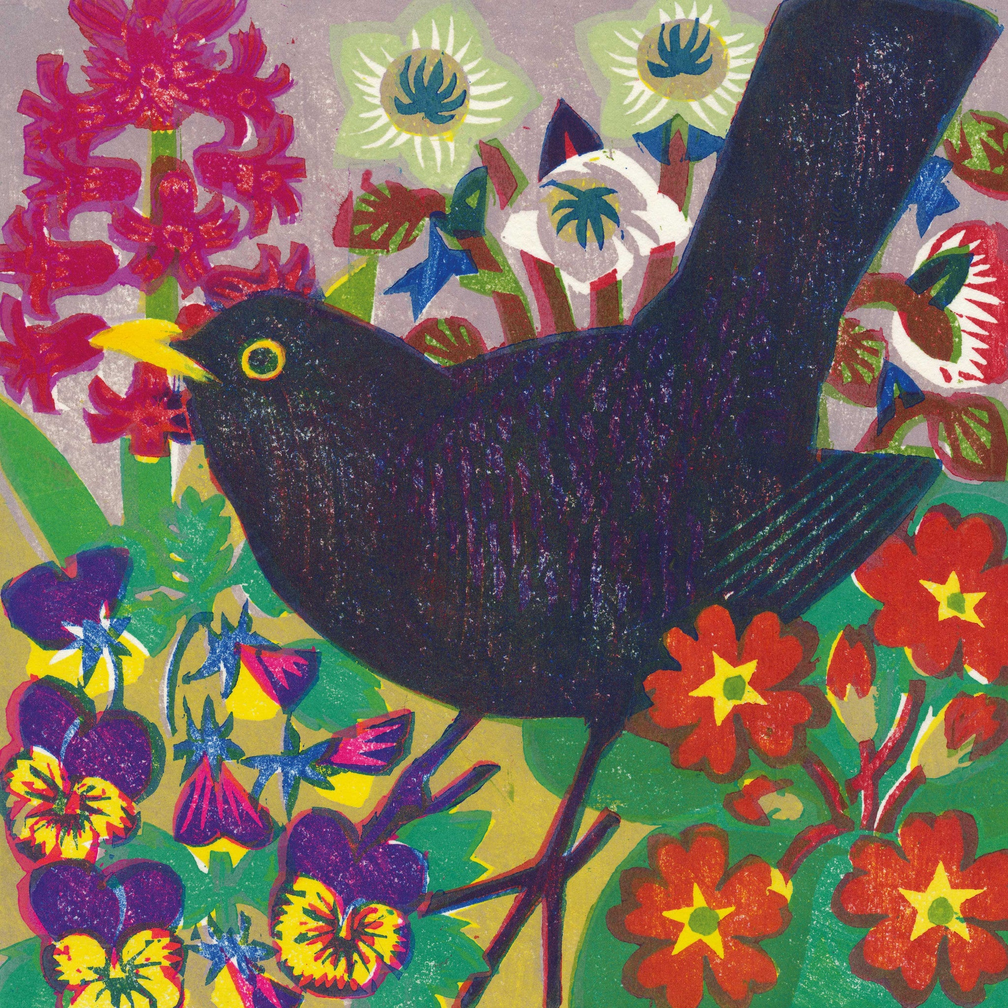 Spring Blackbird by Matt Underwood, Prize winner, Art Greeting Card, Blackbird and spring flowers