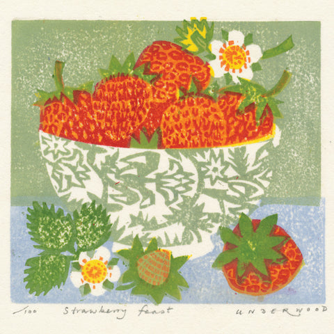 Strawberry Feast by Matt Underwood, Art Greeting Card, Woodblock Print, Bowl of strawberries