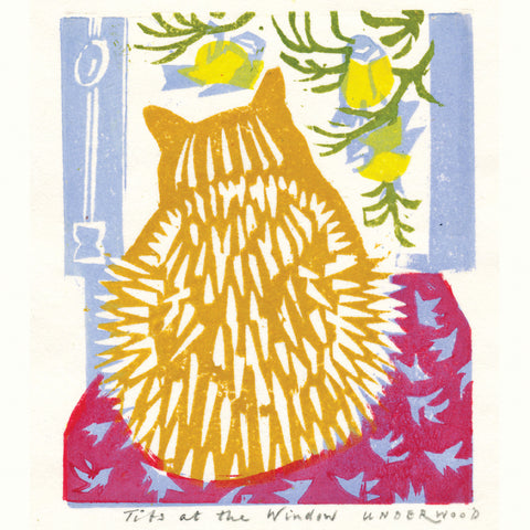 Tits at the Window by Matt Underwood, Art Greeting Card, Woodblock Print, Cat watching great tits out of window