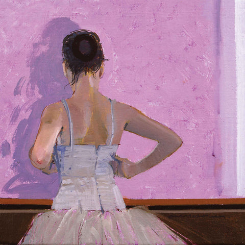 Dancer by Michael Whittlesea, Fine Art Greeting Card, Oil, Dancer girl facing away