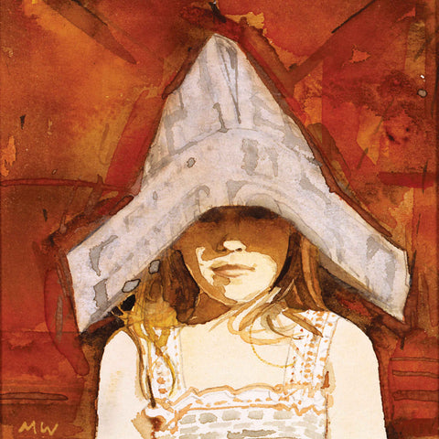 Paper Hat by Michael Whittlesea, Fine Art Greeting Card, Watercolour, Girl wearing paper hat