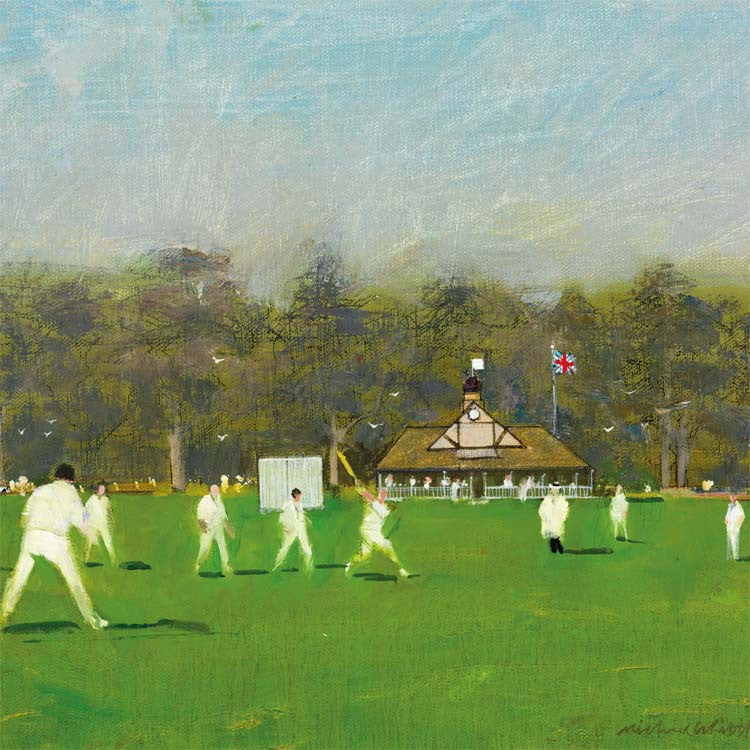 Fine Art Greeting Card, Oil on Canvas, Cricket Game