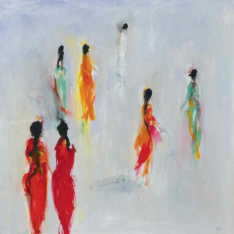 Art Greeting Card by Ann Shrager, Ladies in Saris at the Taj, Oilpainting