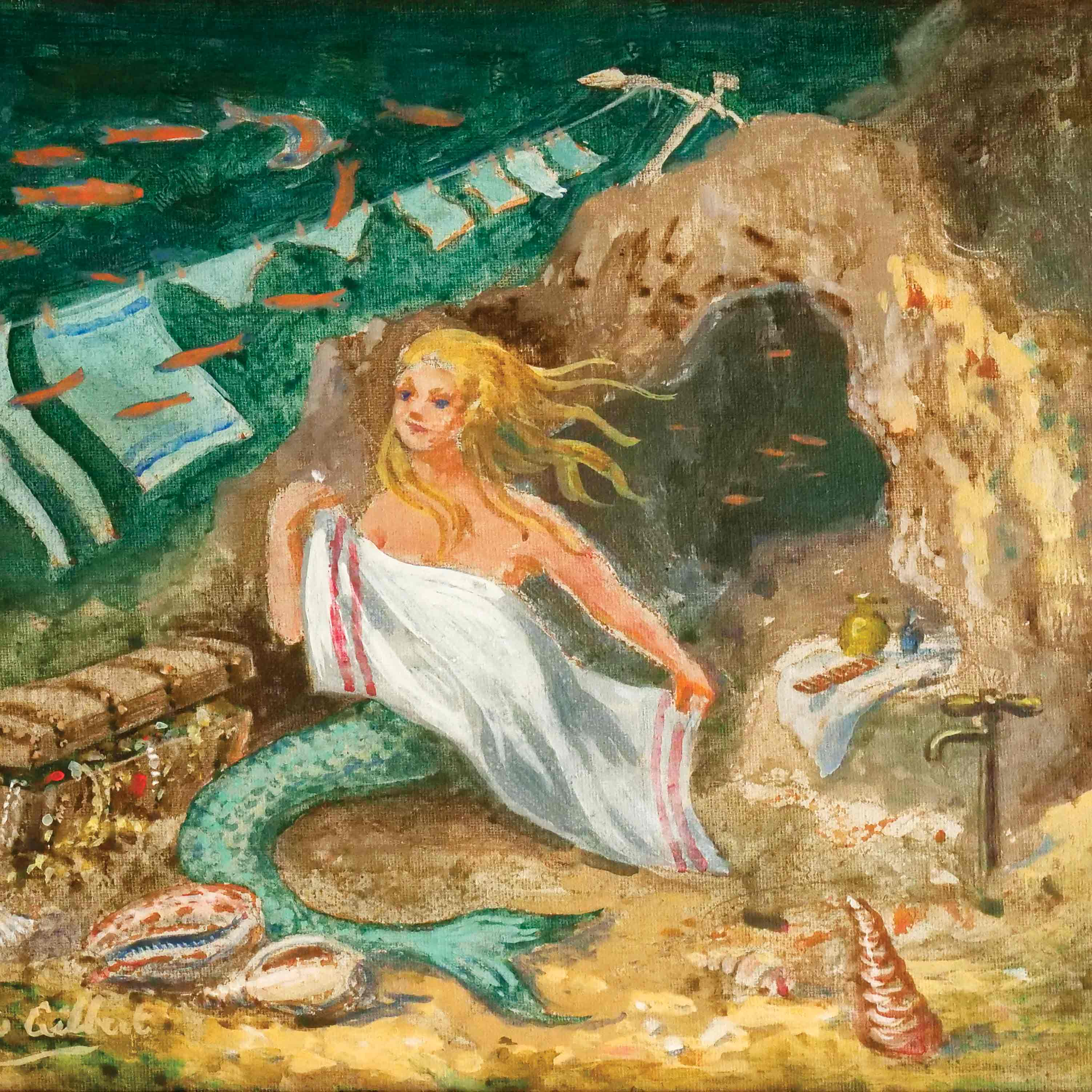 Art Greeting Card by Dennis Gilbert, A Drying Problem, Oilpainting, Mermaid drying herself with towel under the sea