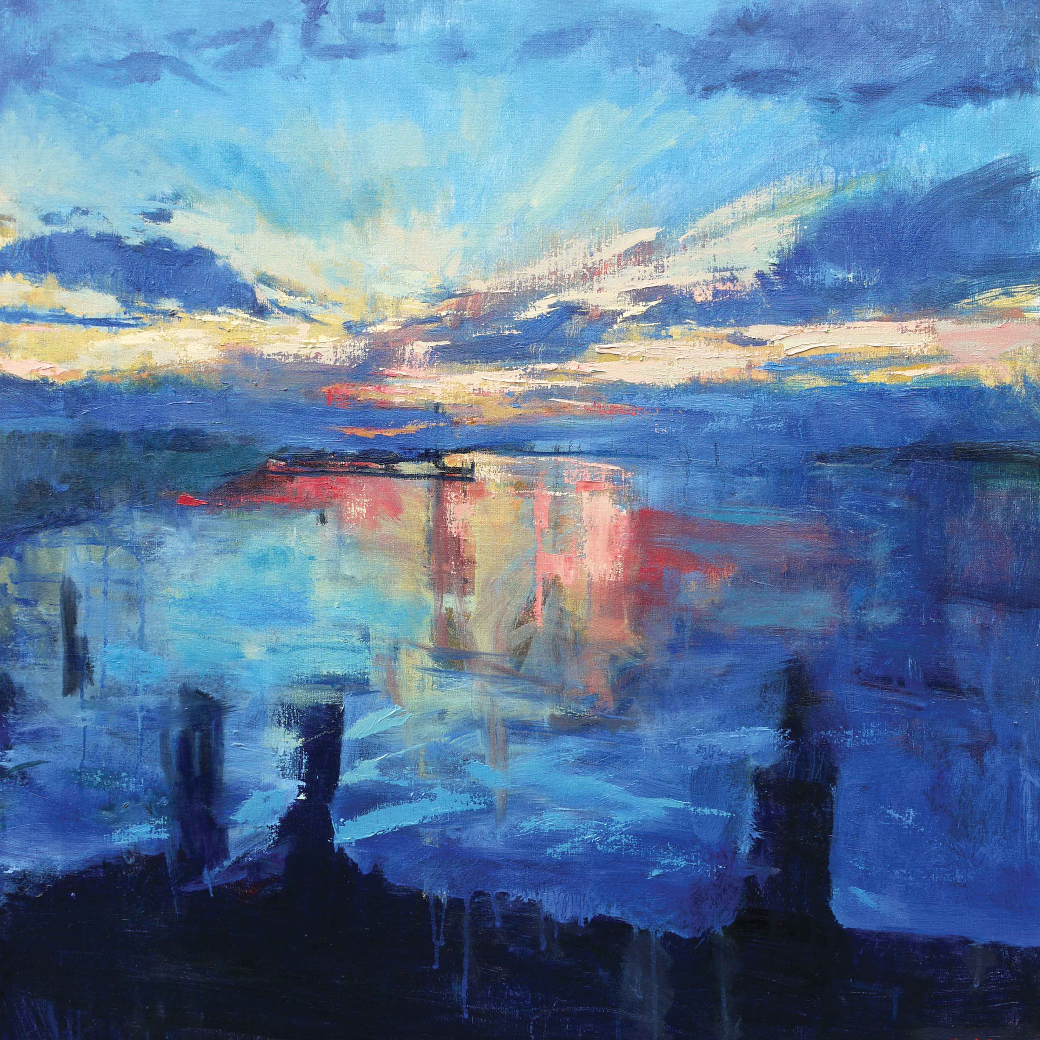 Art greeting card by Francis Bowyer, Oilpainting, Sunset over river