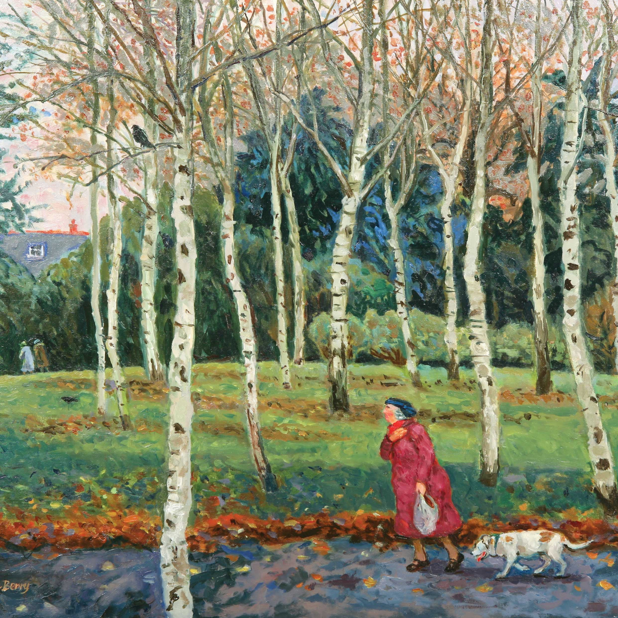 Elderly Couple Walking by June Berry, Fine Art Greeting Card, Lady with dog walking in park, elderly couple in background