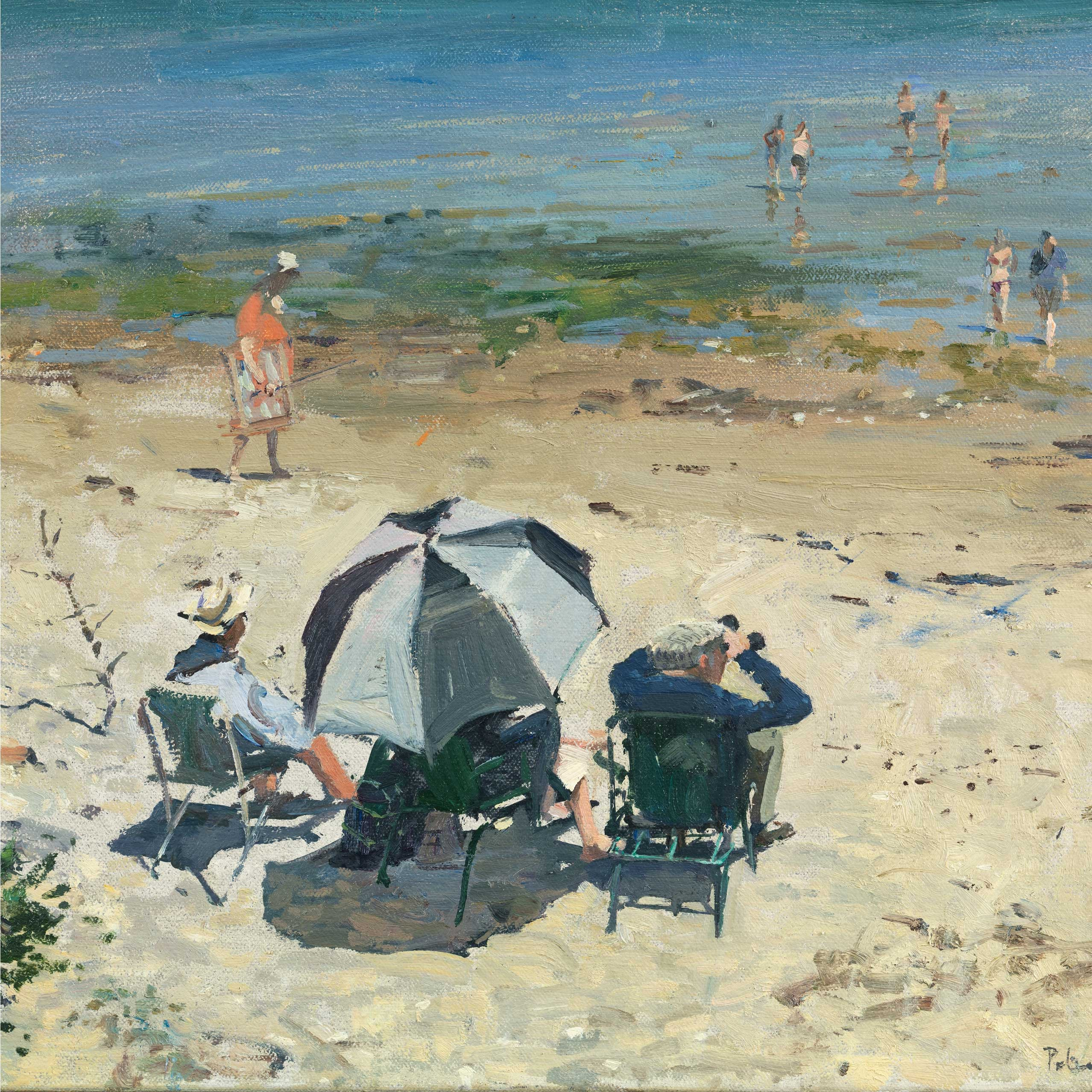 Afternoon on the Beach by Peter Brown, Fine Art Greeting Card, NEAC range, Beach scene