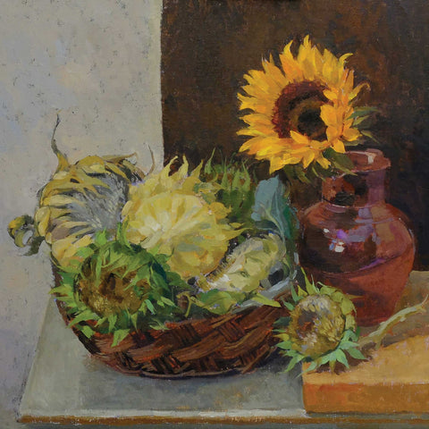 Sunflowers by Pamela Kay, Fine Art Greeting Card, NEAC range, Sunflower still life