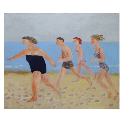 Running along the Sands by Richard Sorrell, Fine Art Greeting Card, Four people running along a beach