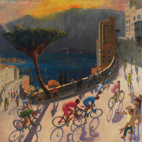 Giro II by Toby Ward, Art Greeting Card, NEAC range, Cyclists going up hill