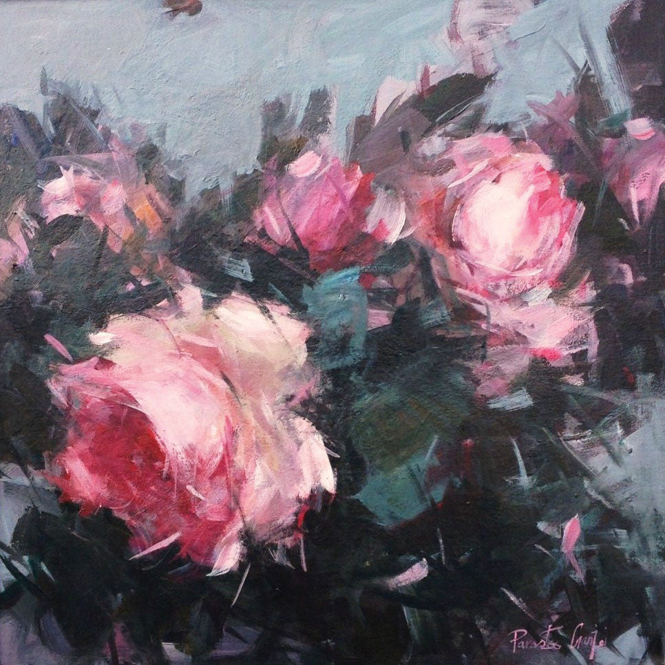 Rose Study by Parastoo Ganjei, Fine Art Greeting Card, Acrylic on Canvas, Pink roses