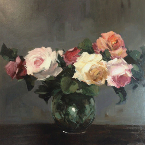 October Roses by Parastoo Ganjei, Fine Art Greeting Card, Acrylic on Canvas, Roses in vase