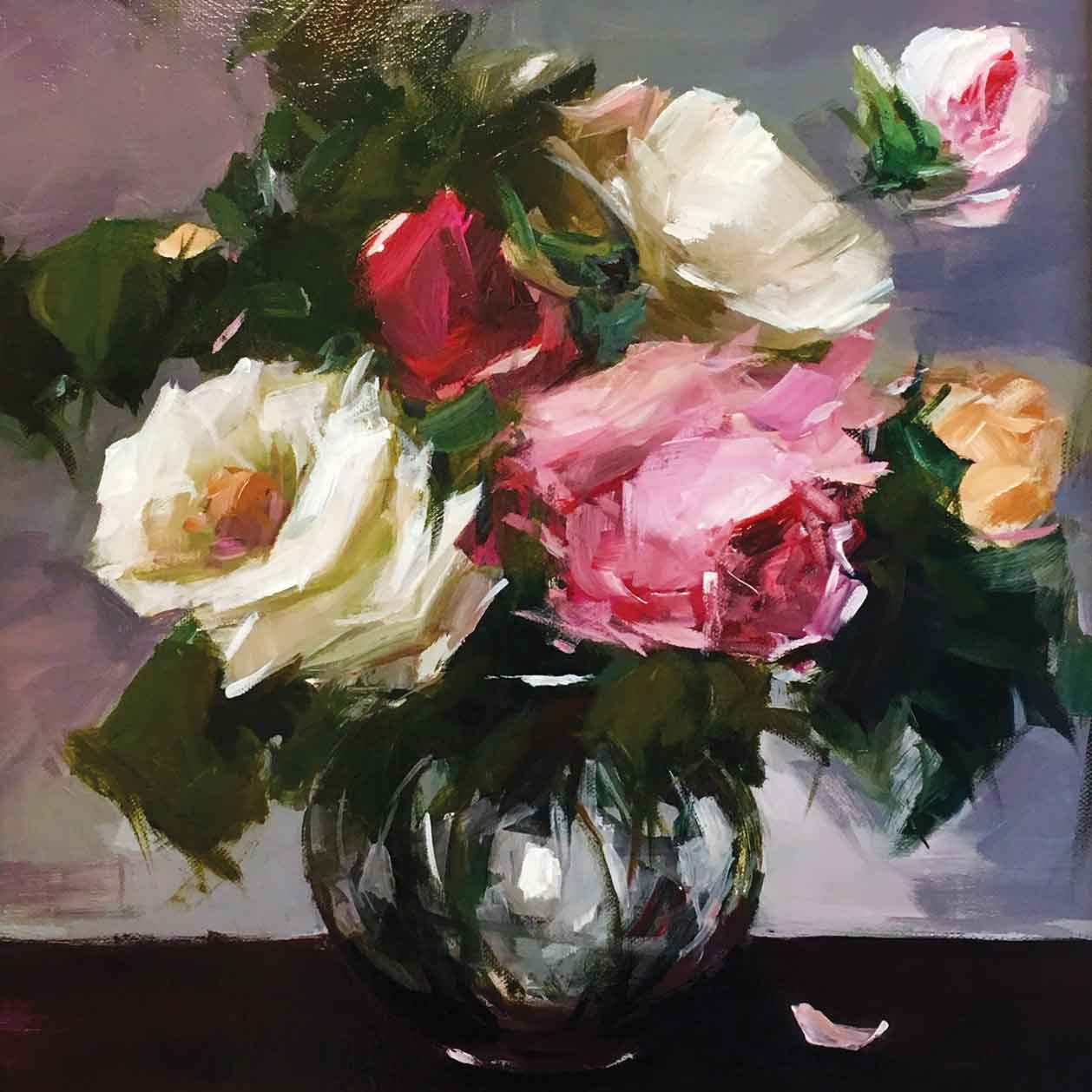 Garden Roses in a Glass