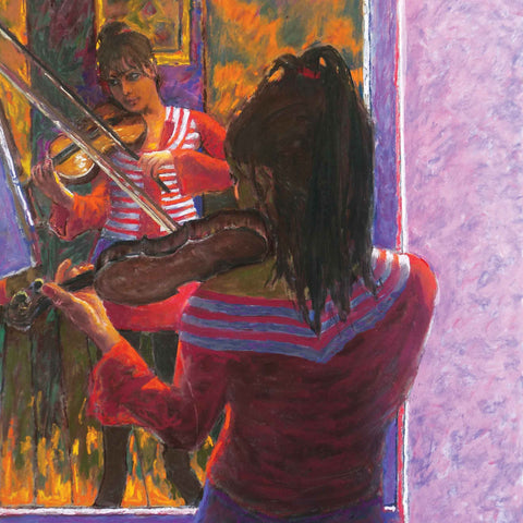 Violinist and Mirror by Patrick Cullen, Fine Art Greeting Card, Oil, Violinist playing in front of mirror