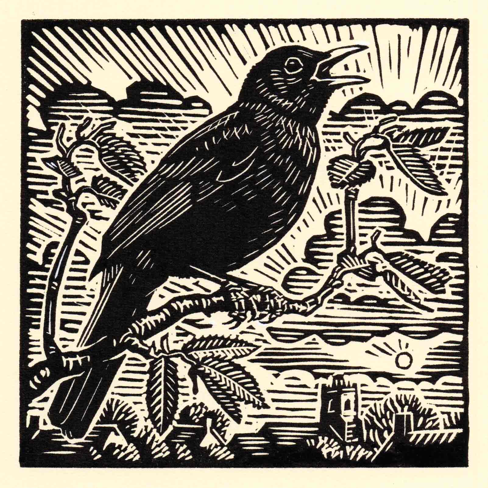 Art Greeting Card by Richard Allen, Blackbird, Linocut, Blackbird singing