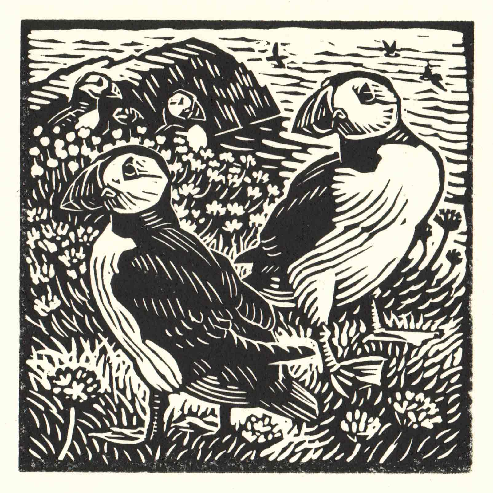 Art Greeting Card by Richard Allen, Puffin, Linocut, Two puffins on a cliff