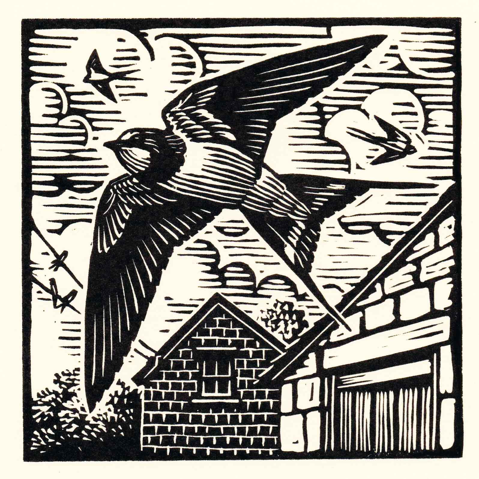 Art Greeting Card by Richard Allen, Linocut, Swallows in the sky