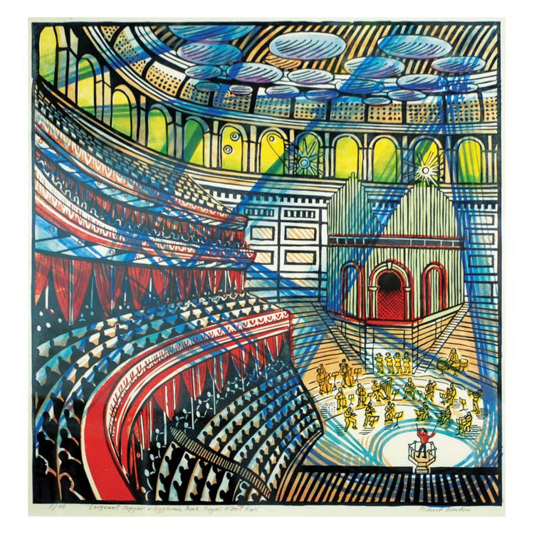 Sergeant Pepper and Symphonic Rock, Royal Albert Hall by Richard Bawden, Prize winner, Art Greeting Card