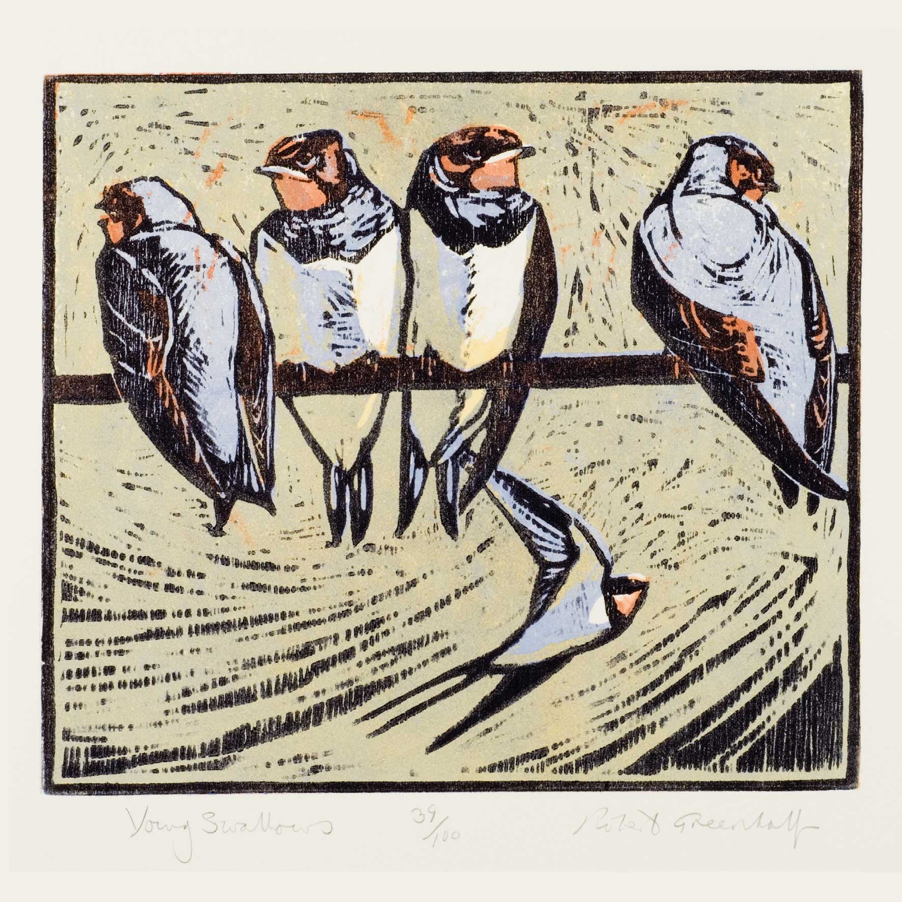 Art Greeting Card, Woodcut, Perching swallows