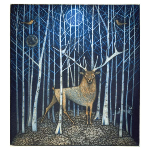 Art Greeting Card, Stag in the wood in moonlight