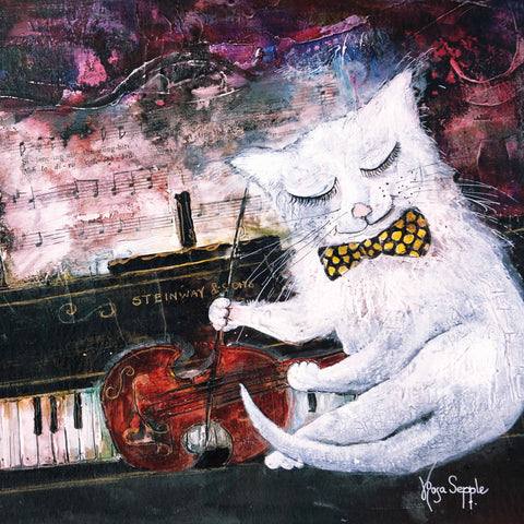 Art Greeting Card by Rosa Sepple, Cat on the Fiddle, Mixed Media, Cat on piano playing the fiddle