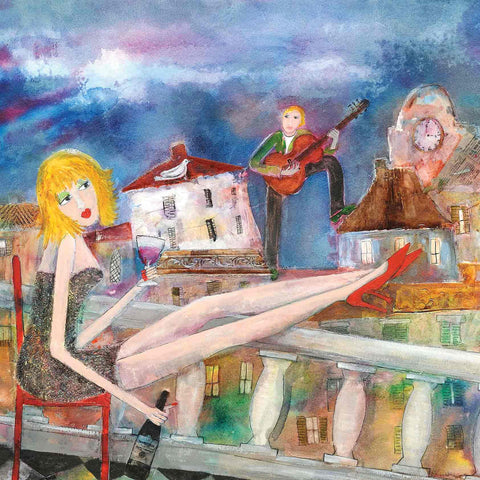 Art Greeting Card by Rosa Sepple, La Serenata, Mixed media, Lady on balcony being serenaded by a man with guitar