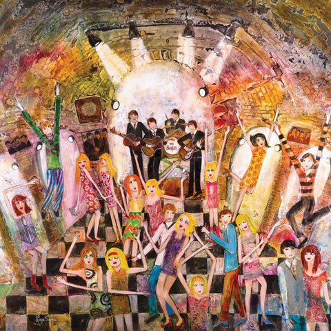 Art Greeting Card by Rosa Sepple, The Cavern, Mixed media, The Beatles playing, people dancing