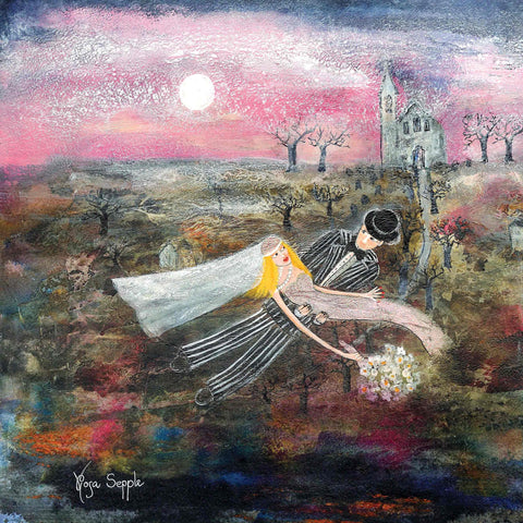 Art Greeting Card by Rosa Sepple, Il Cielo Rosa, Waterbased mixed media, Wedding couple flying over fields and church