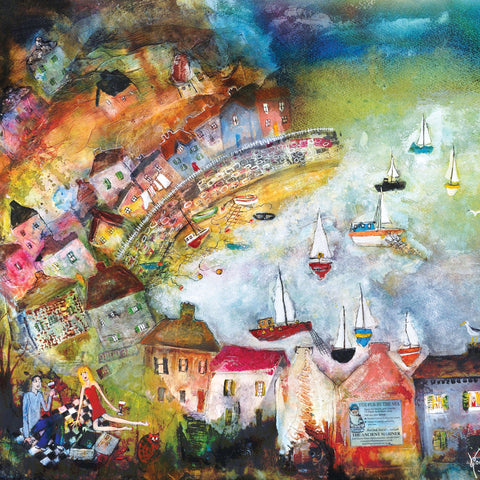 Harbour View by Rosa Sepple, Fine Art Greeting Card, Couple having a picnic with view of the harbour