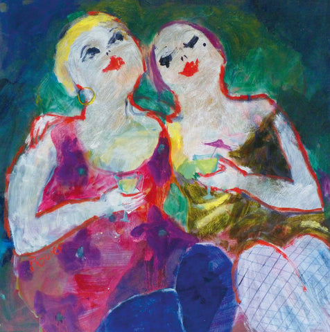 Fine Art Greeting Card, Oil on Board, Two women holding cocktail glasses