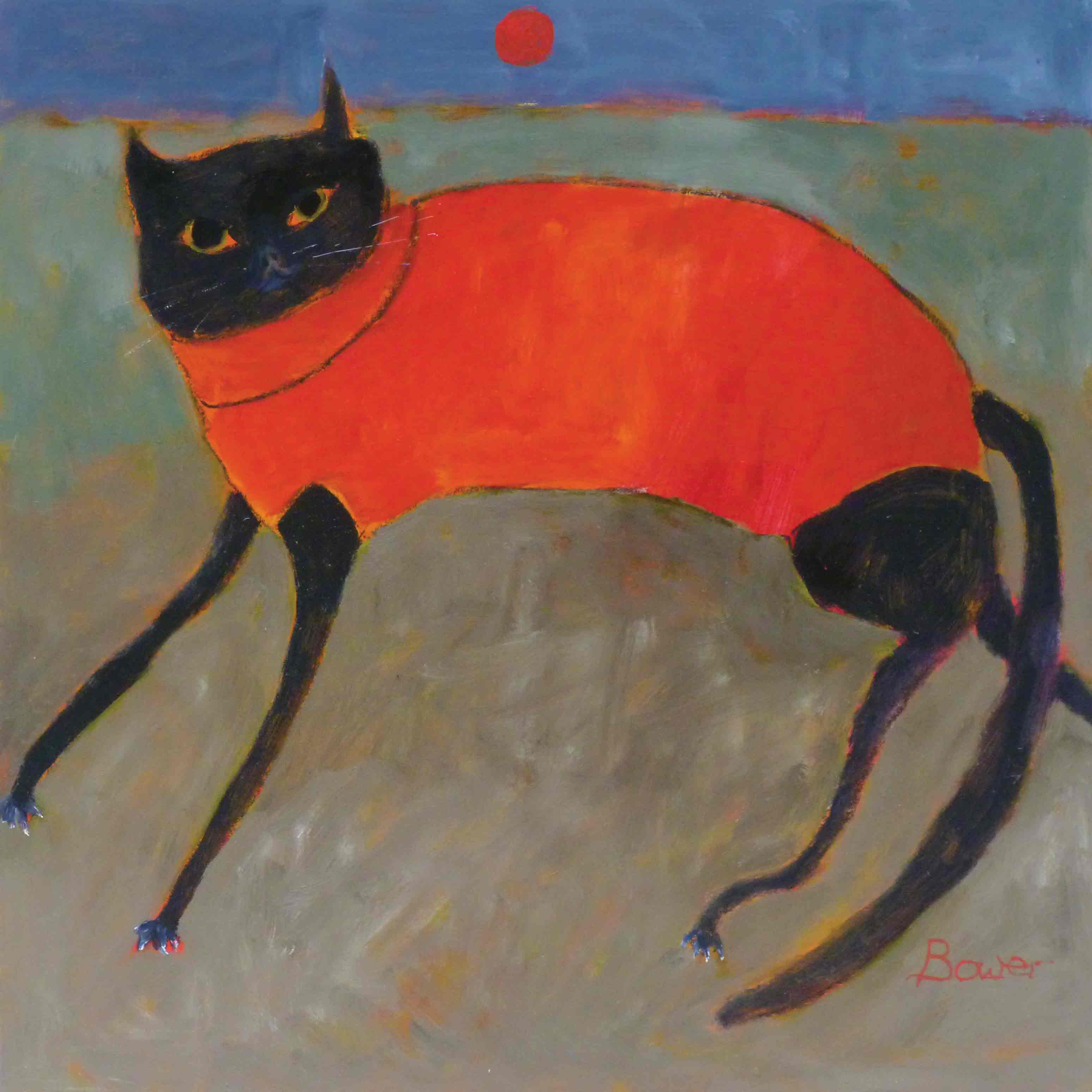 Fine Art Greeting Card by Susan Bower, Oil painting, Cat wearing red coat