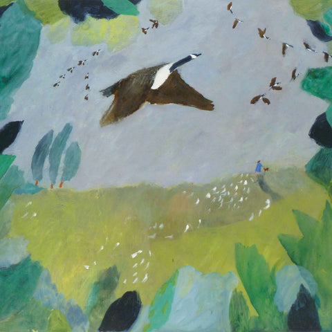 Art Greeting Card by Susan Bower, Oilpainting, Geese taking off
