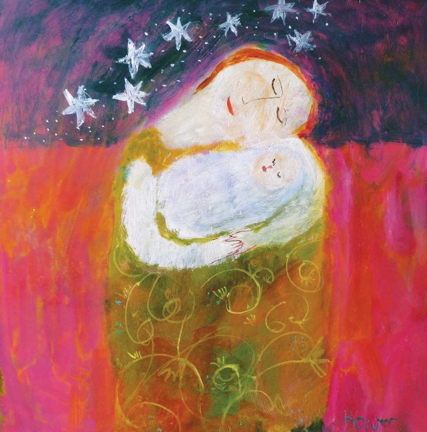 New Baby by Susan Bower, Fine Art Greeting Card, Christmas Pack, Oil on Board, Mother holding baby and stars in night sky