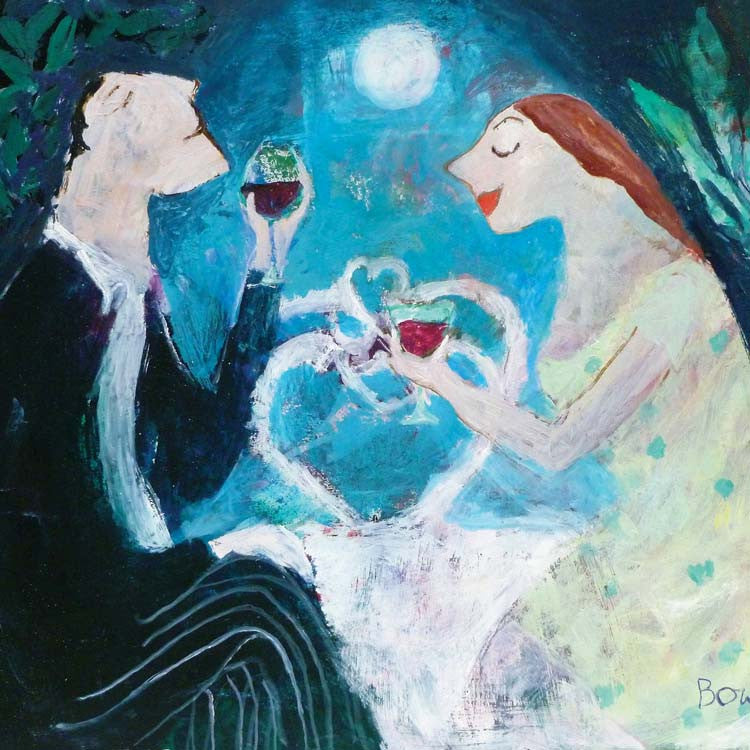 Fine Art Greeting Card, Oil on Board, Man and woman drinking wine in the moonlight