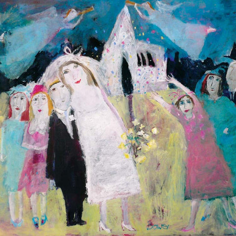 Fine Art Greeting Card, Oil on Board, Newly weds outside church