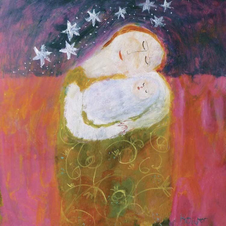 New Baby by Susan Bower, Fine Art Greeting Card, Oil on Board, Mother holding baby and stars in night sky