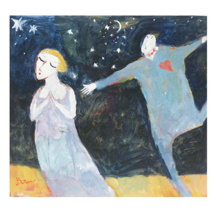 Fine Art Greeting Card, Oil on Board, Man reaching out to woman
