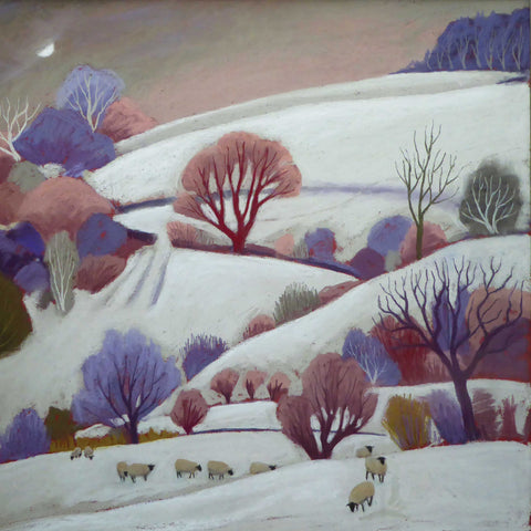 Deep Midwinter by Sue Campion, Fine Art Greeting Card, Pastel, Winter landscape with sheep
