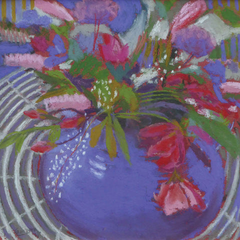 Flowers on the Garden Table by Sue Campion, Fine Art Greeting Card, Pastel, Flowers in blue vase