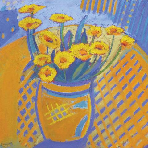 Art Greeting Card by Sue Campion, Calendula, Pastel, Calendula on table
