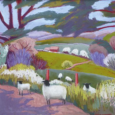 Art Greeting Card by Sue Campion, Shadows on the Lane, Pastel, sheep landscape