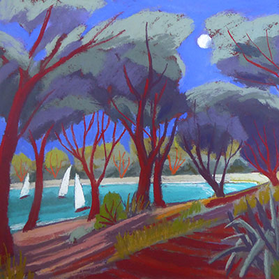 Art Greeting Card by Sue Campion, Yachts at Dusk, Pastel, Yachts and trees in the moonlight