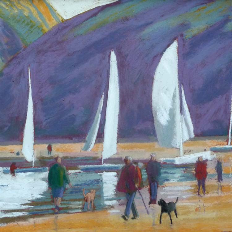 Fine Art Greeting Cards, Pastel, Sail Boats and People