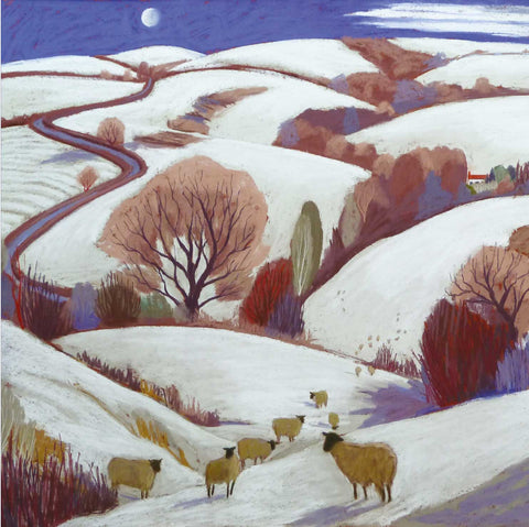 Fine Art Greeting Cards, Pastel, Winter Landscape with Sheep