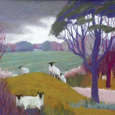 Fine Art Greeting Card, Pastel, Landscape with Sheep